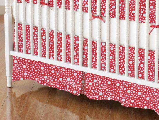 Crib Skirt - Confetti Dots Red