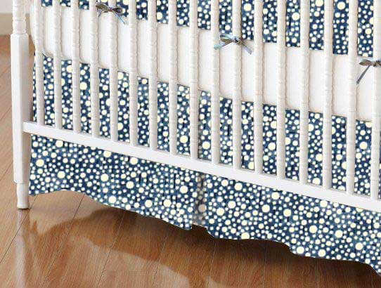 Crib Skirt - Confetti Dots Navy