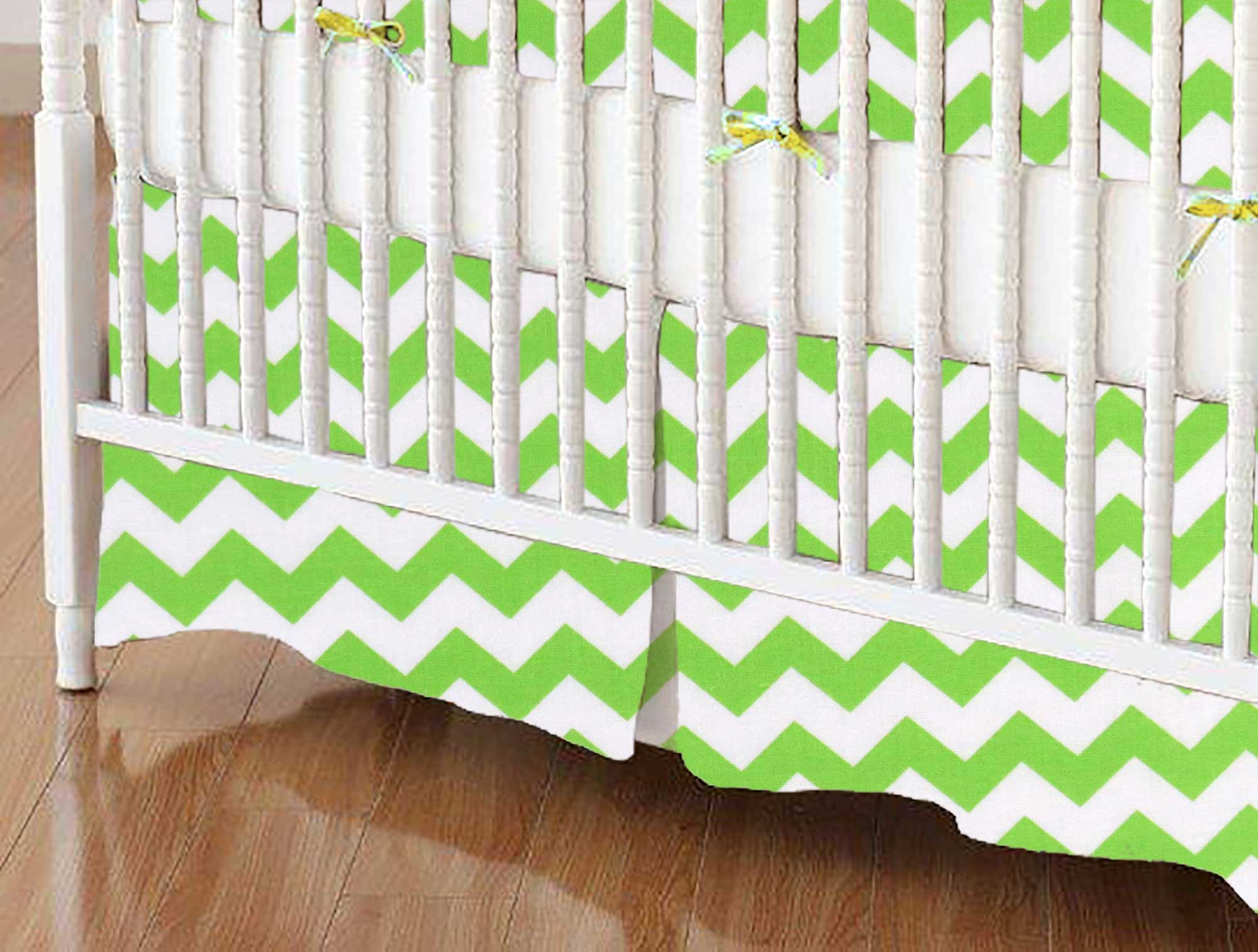 Crib Skirt - Lime Chevron Zigzag