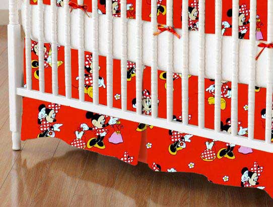 Crib Skirt - Minnie Mouse Red