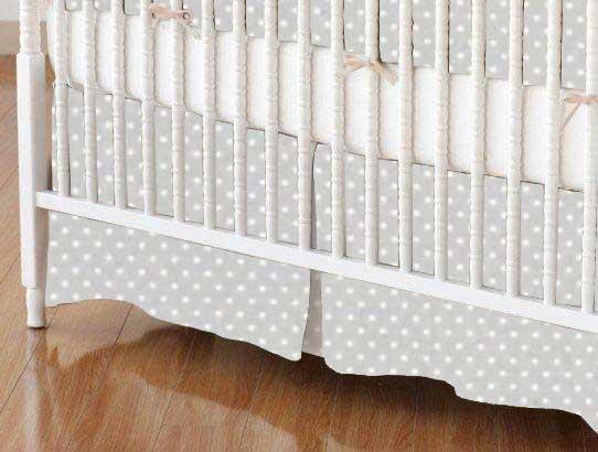 Crib Skirt - Pindots Grey Woven