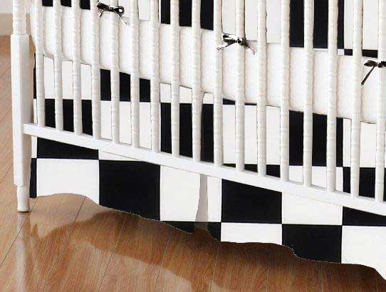 Crib Skirt - Black White Checkerboard