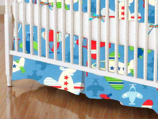 Crib Skirt - Baby Airplanes