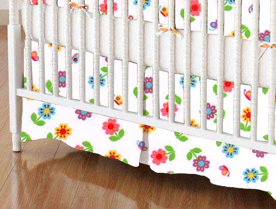 Crib Skirt - Colorful Roses