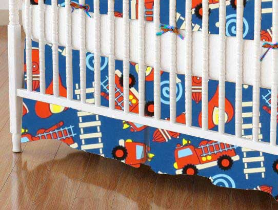 Crib Skirt - Fire Trucks Blue