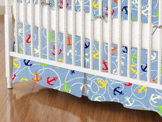 Crib Skirt - Nautical Blue