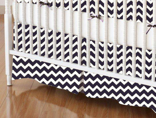 Crib Skirt - Navy Chevron Zigzag