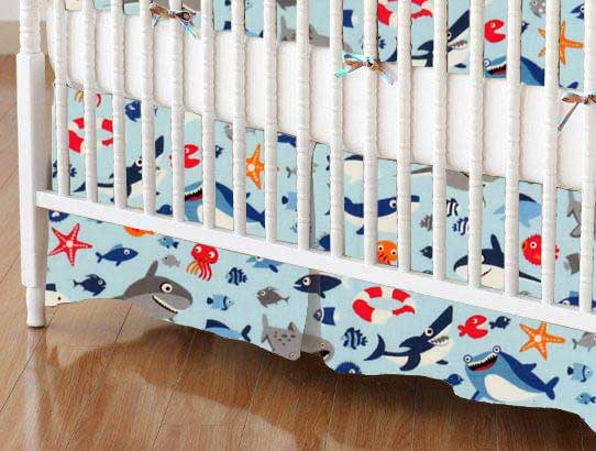 Crib Skirt - Sharks Blue