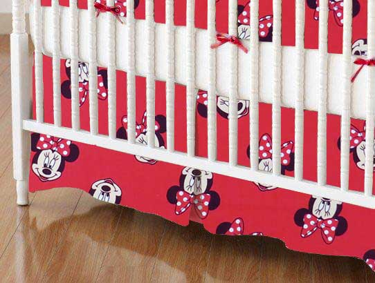 Crib Skirt - Minnie Mouse Faces