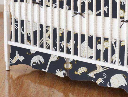 Crib Skirt - Modern Safari Animals Dark Gray