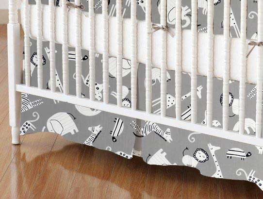 Crib Skirt - Modern Safari Animals Gray