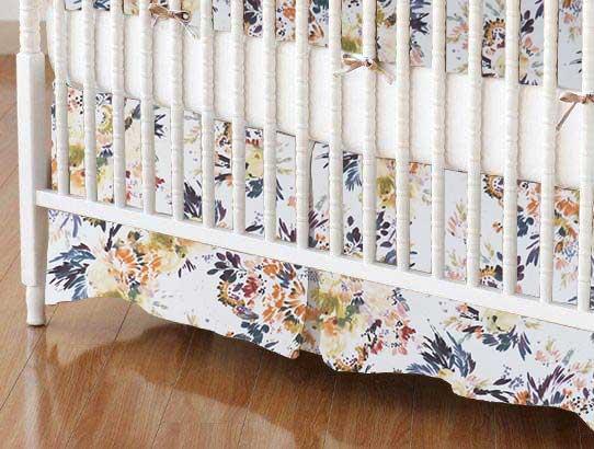 Crib Skirt - Modern Floral Garden Cream