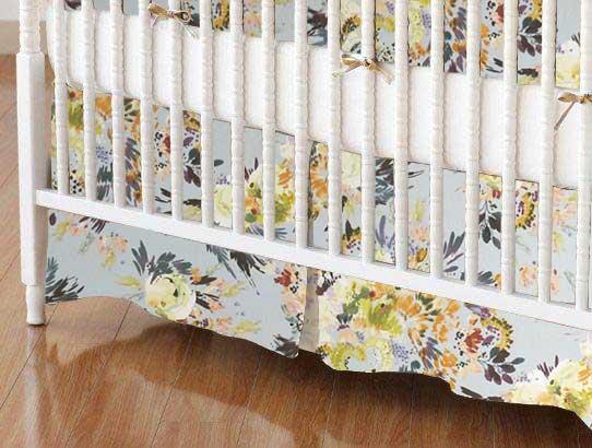 Crib Skirt - Modern Floral Garden Gray