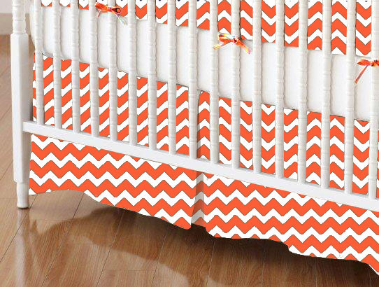 Crib Skirt - Orange Chevron Zigzag