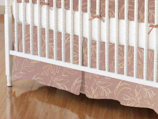 Crib Skirt - Mauve Leaves