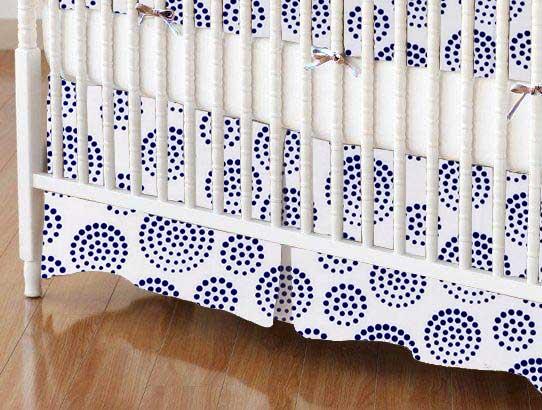Crib Skirt - Royal Circle Swirls