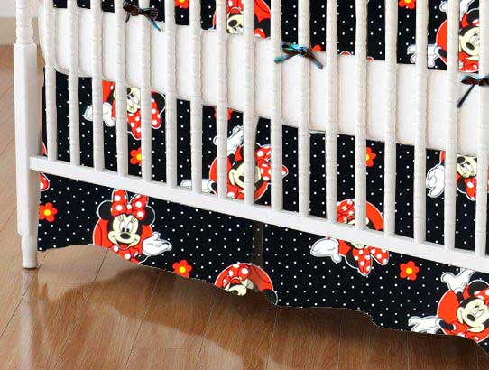 Crib Skirt - Minnie Mouse Dots