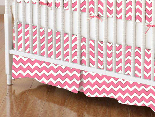 Crib Skirt - Bubble Gum Pink Chevron Zigzag