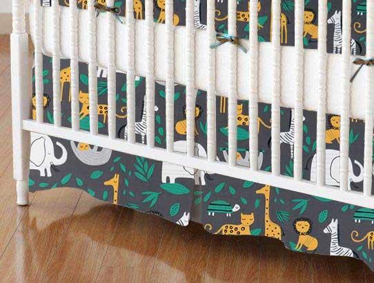 Crib Skirt - Jungle Animals Gray