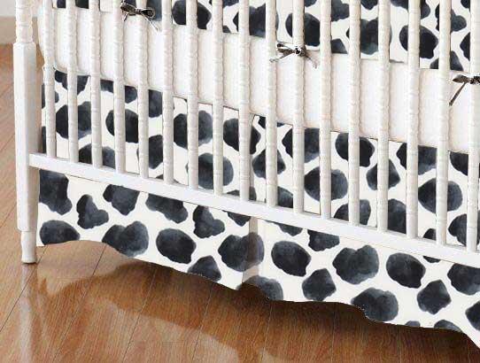 Crib Skirt - Black Cow Spots