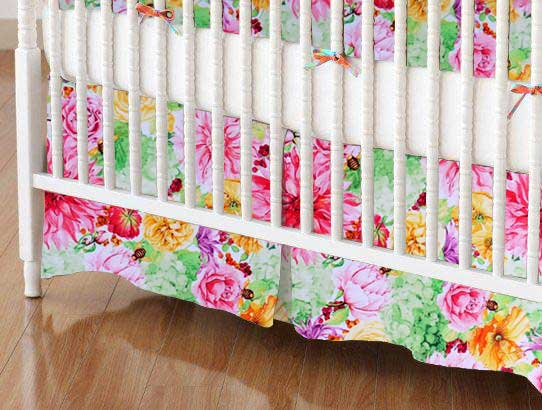Crib Skirt - Bee Floral