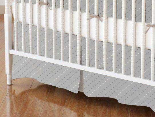Crib Skirt - Diagonal Stripe Gray