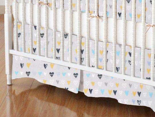 Crib Skirt - Hearts Gray