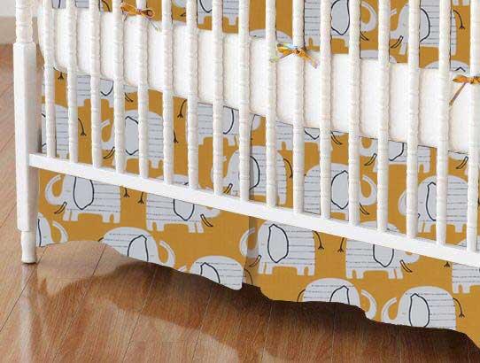 Crib Skirt - Baby Elephants Yellow