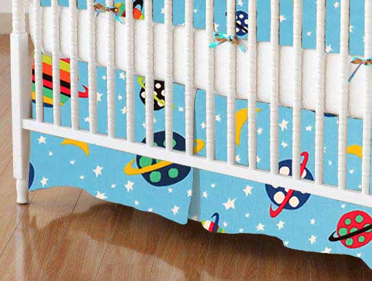 Crib Skirt - Planets Blue
