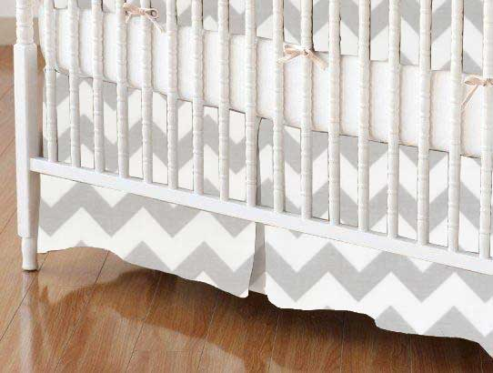 Crib Skirt - Grey Chevron Zigzag