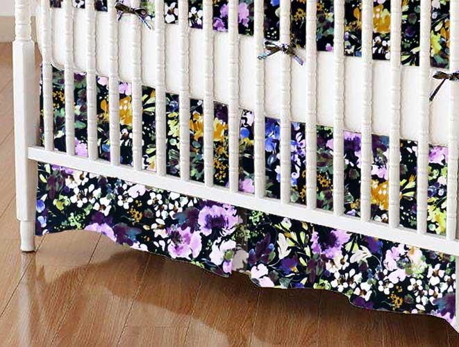 Crib Skirt - Watercolor Flowers