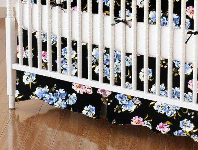 Crib Skirt - Blue Flowers