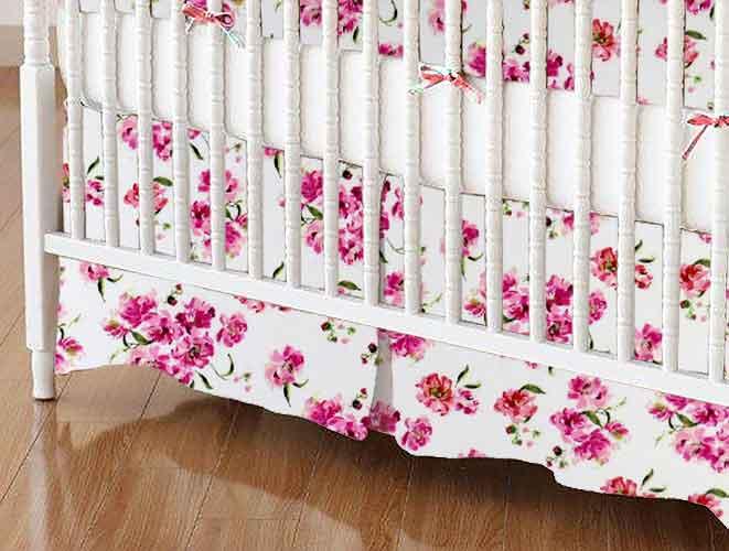 Crib Skirt - Pink Floral