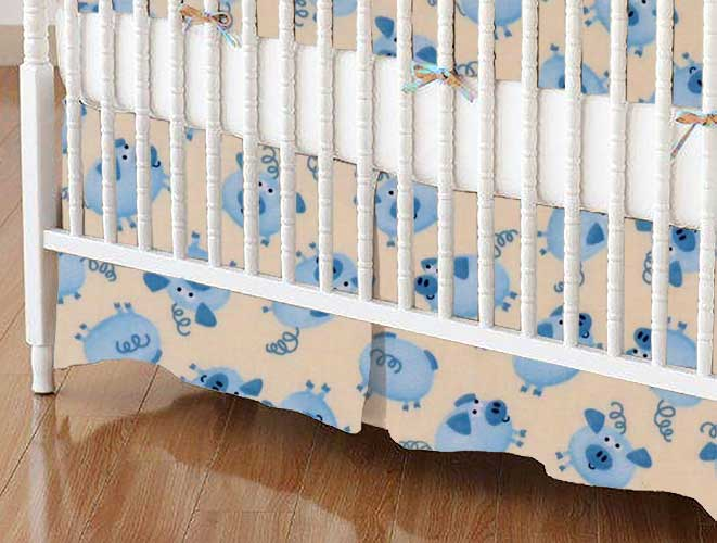 Crib Skirt - Blue Piggies