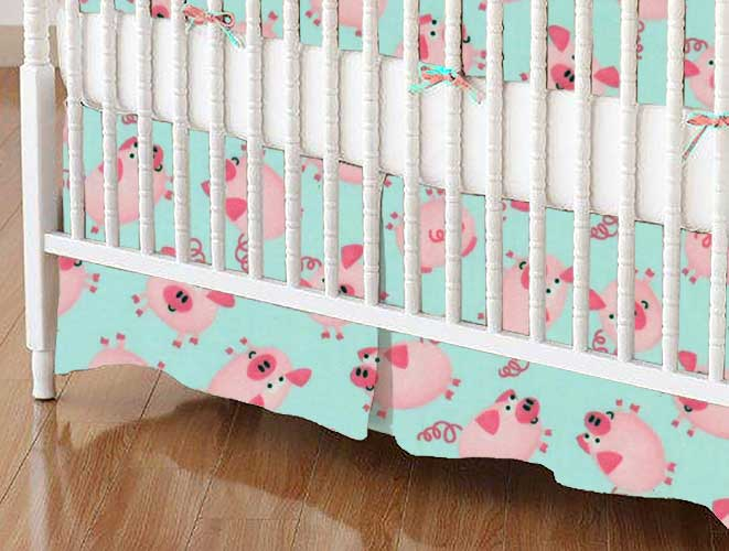 Crib Skirt - Pink Piggies