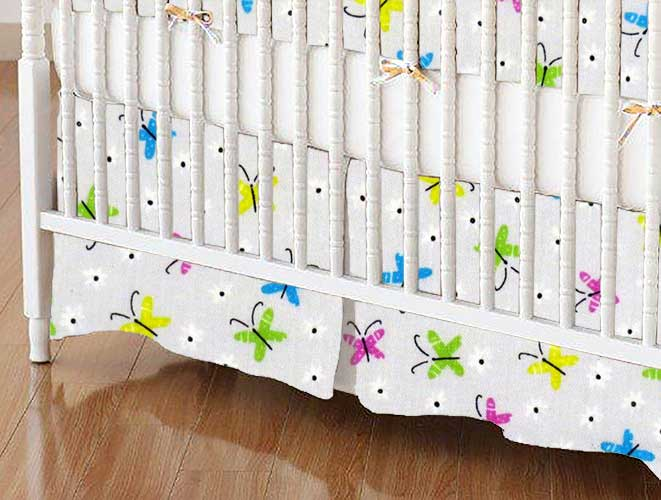 Crib Skirt - Butterflies Gray