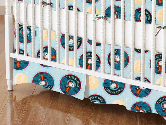 Crib Skirt - Snoopy Space
