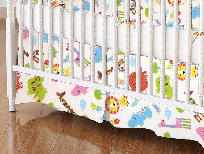 Crib Skirt - Safari Animals Cream