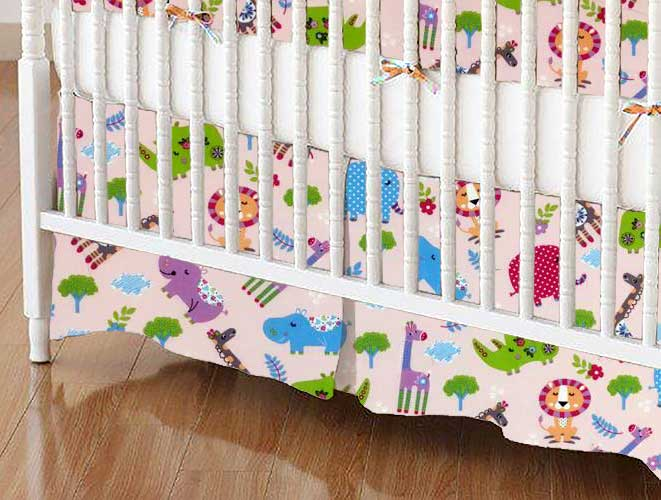 Crib Skirt - Safari Animals Pink