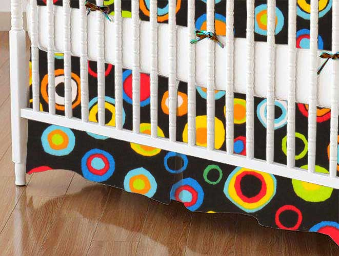 Crib Skirt - Colored Circles Black
