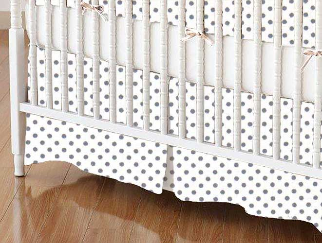 Crib Skirt - Gray Pindots