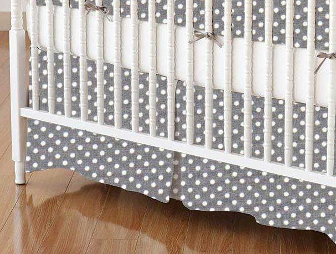 Crib Skirt - Pindots Gray