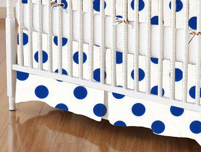 Crib Skirt - Royal Polka Dots
