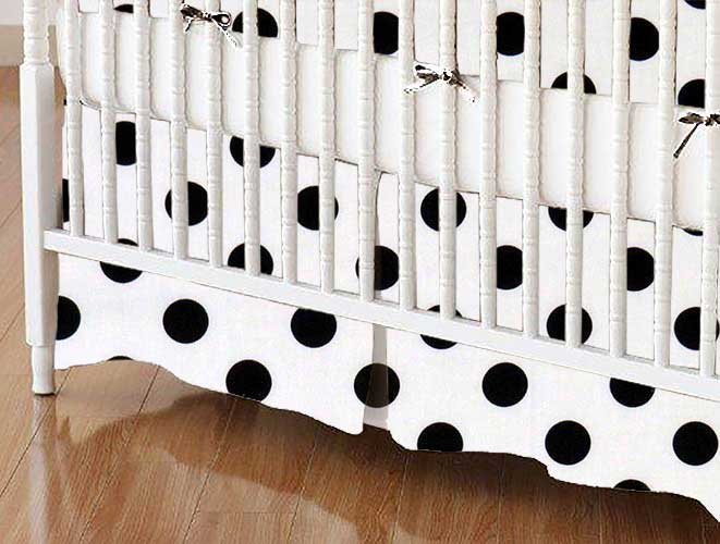 Crib Skirt - Black Polka Dots
