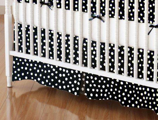 Crib Skirt - Black Fun Dots