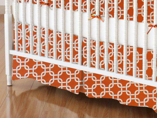Crib Skirt - Orange Links