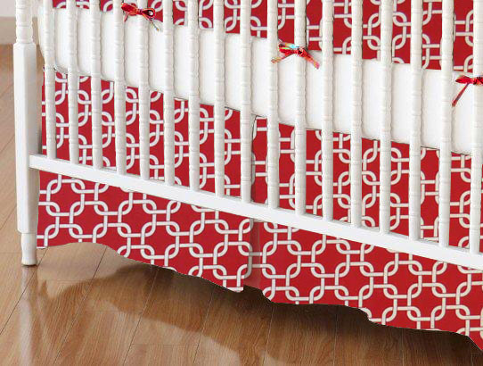 Crib Skirt - Red Links