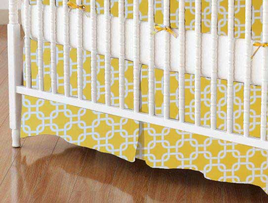 Crib Skirt - Lemon Yellow Links