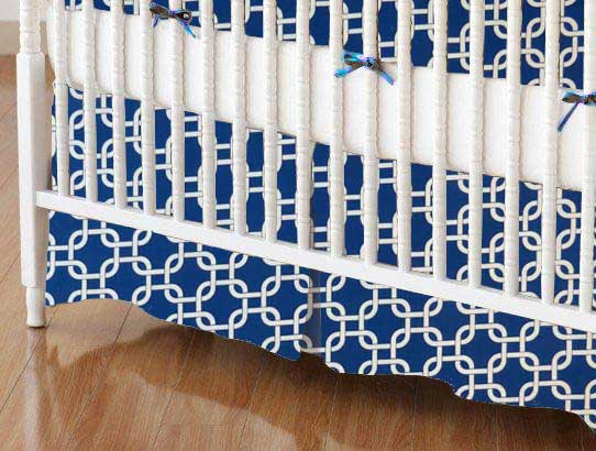 Crib Skirt - Royal Blue Links
