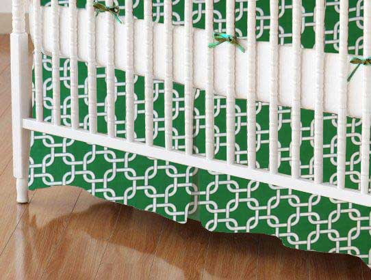 Crib Skirt - Green Links